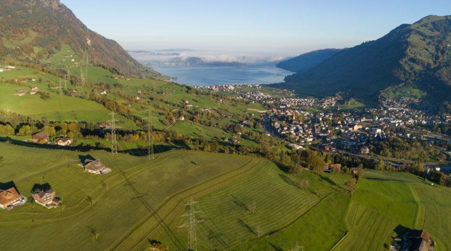Aussicht vom Trubenberg Richtung Goldau und Zugersee